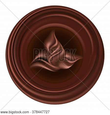 Chocolate Flower Emblem. Brown Chocolate Swirls, Smooth L Flowing Texture. Logo Or Icon, Round Shape