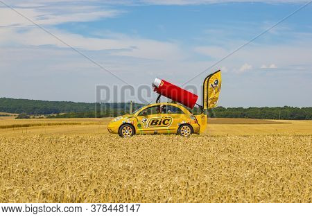 Vendeuvre-sur-barse, France - 6 July, 2017: The Fancy Vehicle Of Bic Passes Through A Region Of Whea