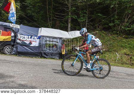 Le Bourget-du-lac, France - July 9, 2017: The French Cyclists Alexis Vuillermoz Of Ag2r La Mondiale