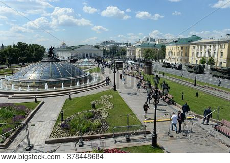 Moscow, Russia - June 24, 2020:military Equipment At The Manezh Square In Moscow During The Parade D