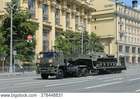 Moscow, Russia - June 24, 2020:russian Truck Tractor Kamaz-65225 With Soviet Self-propelled Artiller