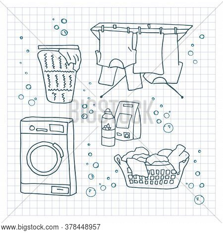 Laundry Doodle Set. Washing Clothes, Machine, Laundry Detergent, Laundry Basket, Clothes Dry On Rope