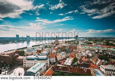 Riga, Latvia - July 1, 2016: Riga Cityscape Slyline In Sunny Summer Day. Famous Landmarks - Riga Dom