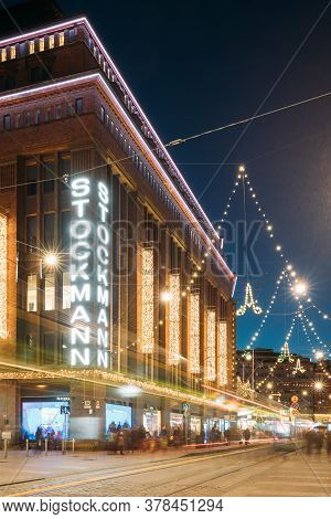 Helsinki, Finland - December 6, 2016: Building Of Stockmann Department Store On Aleksanterinkatu Str