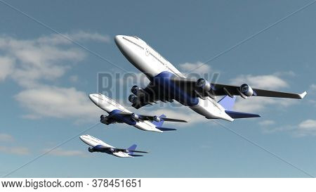 3d render of Airplane isolated on cloud sky background