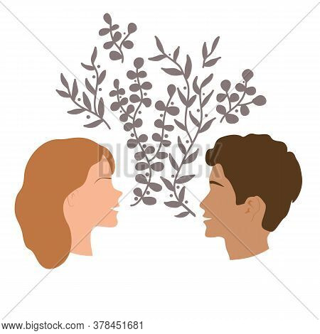 Girls And Guy Talk, Togetherness And Communication Concept. Happy Woman And Man Talking And Smiling