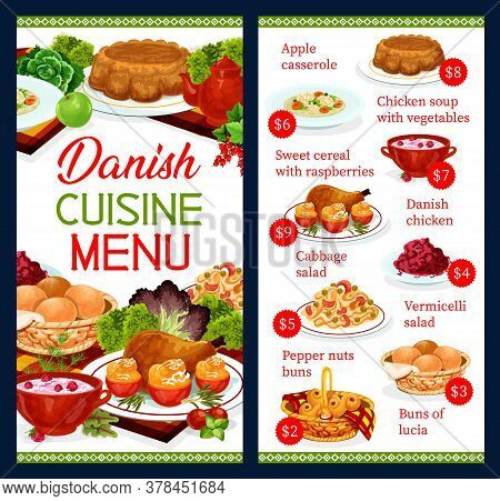 Danish Food Cuisine, Scandinavian Buffet Menu, Vector Meal Dishes. Danish Gourmet Apple Casserole An