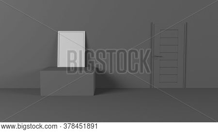 Render of 3D Blank Picture Frames on Empty Wall