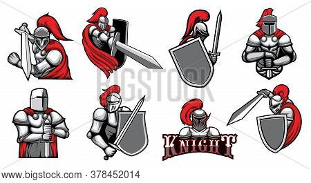 Knight Warrior With Helmet, Shield And Medieval Armor With Sword, Vector Heraldic Icons. Spartan Kni