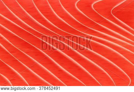Salmon Fish Meat Background Texture Pattern, Vector Fillet For Sushi Food. Orange Red Salmon Fish Ba
