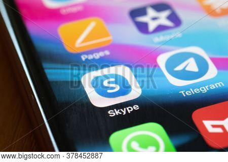 Moscow, Russia - 1 June 2020: Skype And Telegram App Logo Icon Macro Close-up , Illustrative Editori