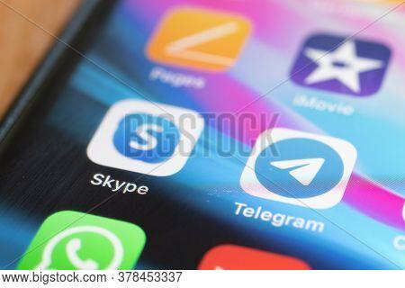 Moscow, Russia - 1 June 2020: Skype Telegram App Logo Icon Macro Close-up , Illustrative Editorial.