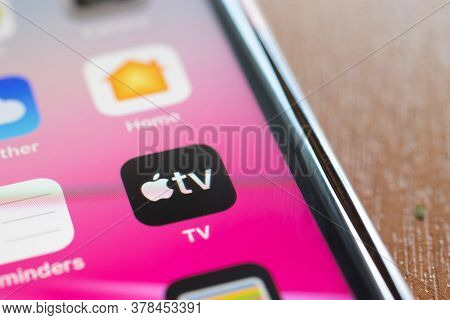 Moscow, Russia - 1 June 2020: Apple Tv App Logo Icon Macro Close-up , Illustrative Editorial.