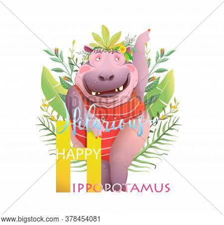 H Is For Hippopotamus, Hilarious Funky Animal Character Abc Design For Kids. Funny Hippo Representin