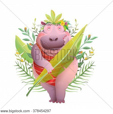 Funny Pretty Hippopotamus Lady In Jungle Leaves, Romantic Mood Cartoon. Body Positive Queen Of Jungl