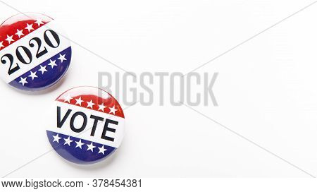 Vote 2020, American Elections. Patriotic Button Pins Isolated On White Background, Panorama, Copy Sp