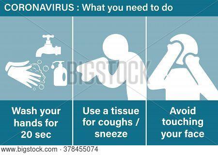 Precautions For Coronavirus. Basic Protective Measures Against The New Coronavirus. Coronavirus Advi