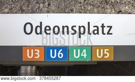 Metro Sign Of Odeon Square In Munich, Germany