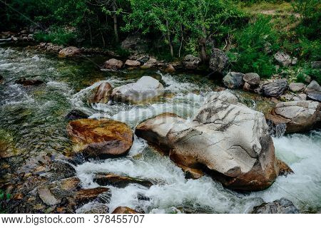 Scenic Landscape With Beautiful Mountain Creek With Green Water Among Lush Thickets In Forest. Idyll