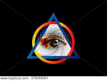Sacred Masonic Symbol. All Seeing Eye, The Third Eye, The Eye Of Providence, Inside Triangle Pyramid