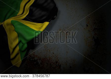 Wonderful Dark Illustration Of Jamaica Flag With Big Folds On Rusty Metal With Empty Space For Your