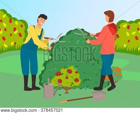 Gardeners Cutting Bushes Cartoon Vector Illustration. Farmworkers Using Gardening Scissors. Male Cha
