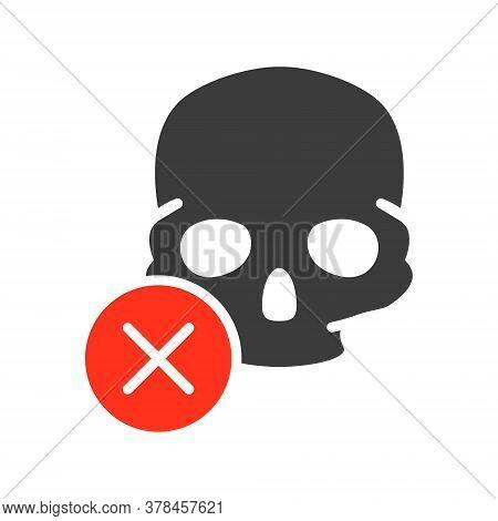 Skull With Cross Checkmark Colored Icon. Bone Structure Of The Head, Cranium Symbol