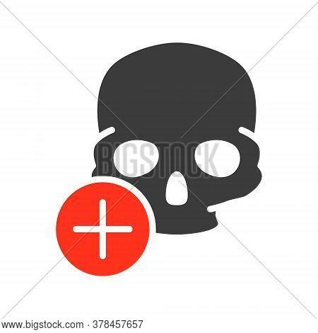 Skull With Plus Colored Icon. Bone Structure Of The Head, Cranium Symbol