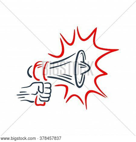 Loudspeaker In Hand-drawn Style  - Isolated Illustration For Anouncement, Broadcasting, Hot News Or