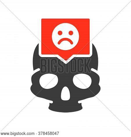Skull With Sad Face In Speech Bubble Colored Icon. Bone Structure Of The Head, Cranium Symbol