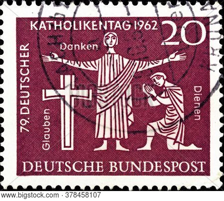 02 09 2020 Divnoe Stavropol Territory Russia The Postage Stamp Germany 1962 The German Annual Day Of