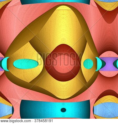 Game Of Shapes Series. Abstract Modern Art Background. Arrangement Of Vibrant Painted Abstract Shape