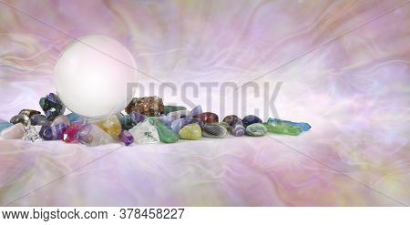 Multicoloured Healing Crystals And Large Crystal Ball Background Banner -  Various Tumbled Healing S