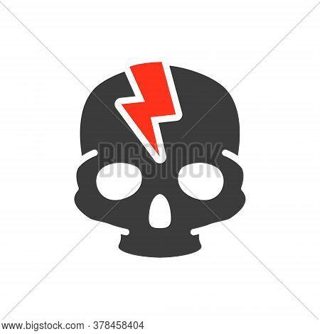 Skull With Acute Pain Colored Icon. Broken Cranium, Bone Structure Of The Head Symbol