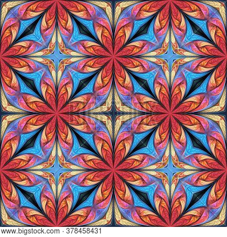 Seamless Multicolored Flower Pattern. You Can Use It For Stained-glass Window, Tile, Mosaic, Ceramic