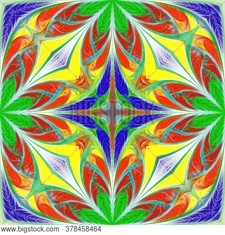 Beautiful Multicolored Fantasy Pattern. You Can Use It For Stained-glass Window, Tile, Mosaic, Ceram