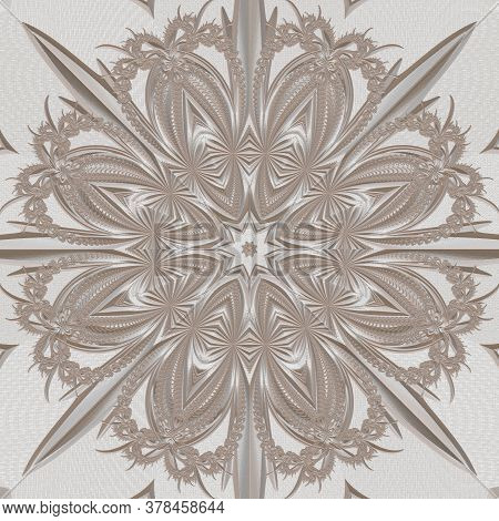 Fractal Pattern In The Style Of Stucco Bas-relief On A Gray Stone Wall