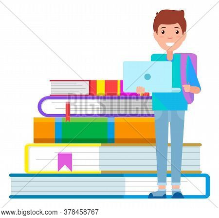 Boy With Backpack Ready For Studying. Young Student Stand Near Big Hardcover Books. Teenager Learnin