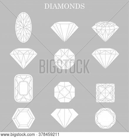 Diamond Shapes Gemstone. Jewels And Diamonds Collection. Line With Editable Stroke