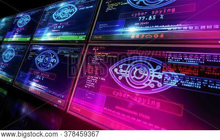 Cyber Spying Eye Symbol On Computer Screen. Hacking, Control, Surveillance, Supervise, Digital Invig