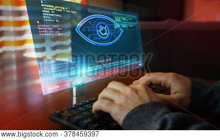 Hacker Spy Attack With Cyber Eye On Computer Screen. Hacking, Control, Surveillance, Supervise, Digi