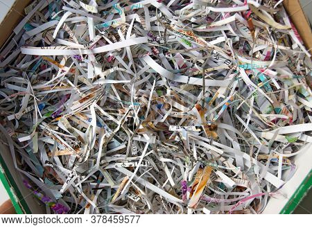 Closeup Shredded Paper Texture And Reuse Paper Scrap Background. Selective Focus Image.
