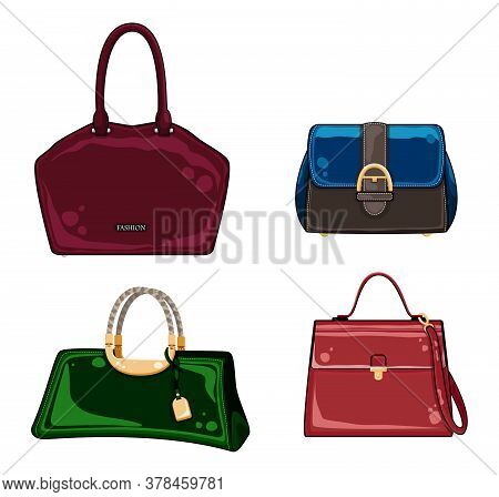 Collection Of Women Bags. Fashion Bags Of Different Types. Beautiful Casual Collection Of Woman Acce