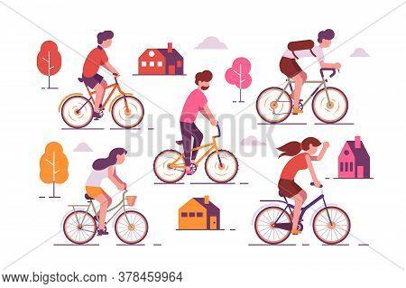 People Riding Bikes Illustration. Men And Women