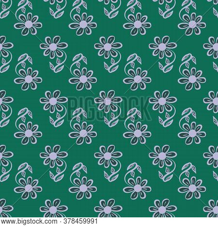 Simple Flower Shapes Seamless Vector Pattern On Green. Girly Surface Print Design For Fabrics, Stati