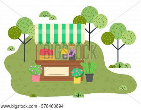 Outdoor Marketplace. Man Florist Selling Beautiful Flowers, Flower Compositions, Fresh Blooming Plan