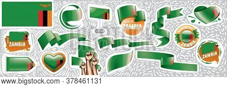 Vector Set Of The National Flag Of Zambia In Various Creative Designs