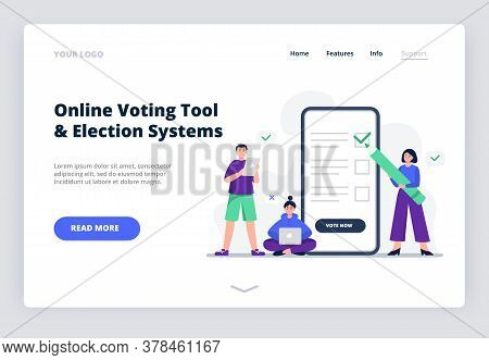 Freedom Of Choice Concept. People Vote Pros And Cons. Online Voting Concept, Electronic Voting. Flat