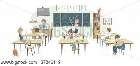 Children Behaving Badly In A Classroom. Unexperienced Teacher. No Discipline. Making Fun, Mess, Trou