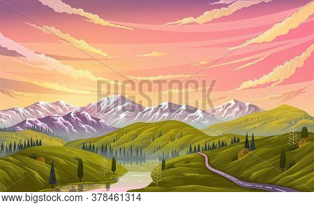 Landscape Nature Background With Mountains, Clear Sky And Clouds, The River Flows Along The Winding